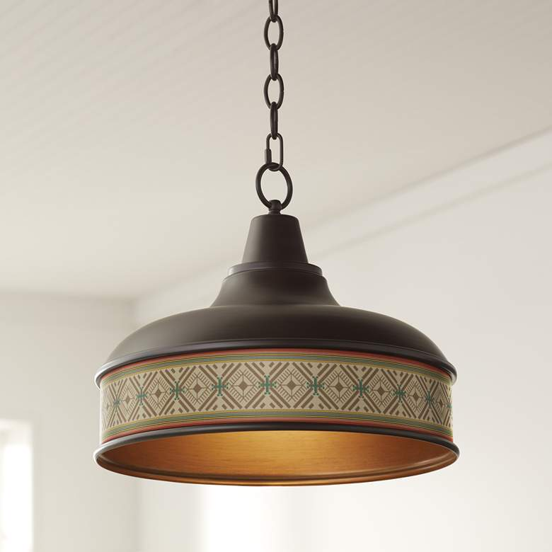 "Desert Diamonds Benson 15"" Wide Bronze Pendant Light"