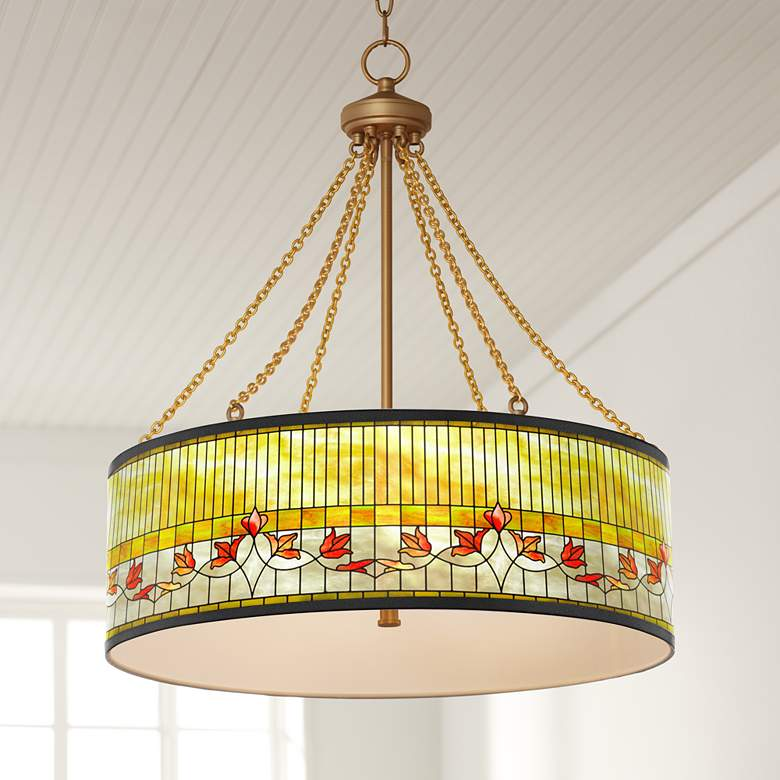 Tiffany Lily Dana Antique Brass Pendant Light
