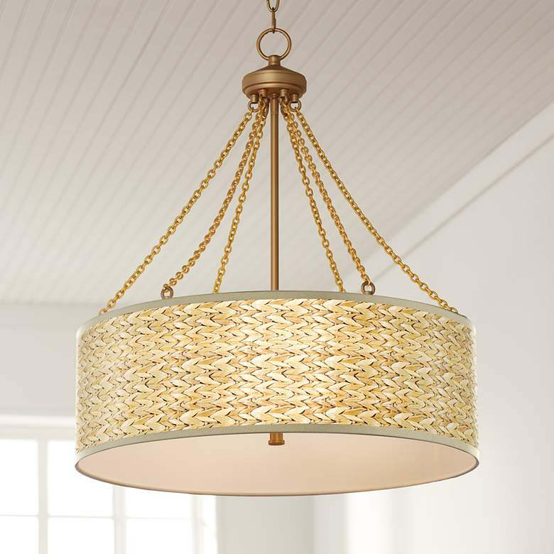 Seagrass Print Dana Antique Brass Pendant Light
