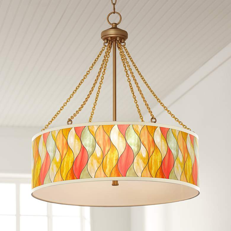 Flame Mosaic Dana Antique Brass Pendant Light