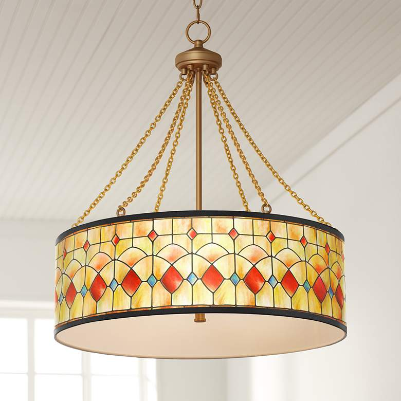 Tiffany Reds Dana Antique Brass Pendant Light