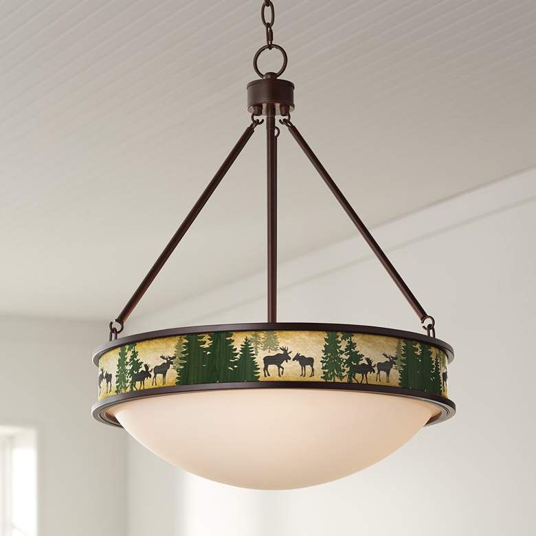 "Moose Lodge Lamont 20 1/2"" Wide Bronze Pendant Light"