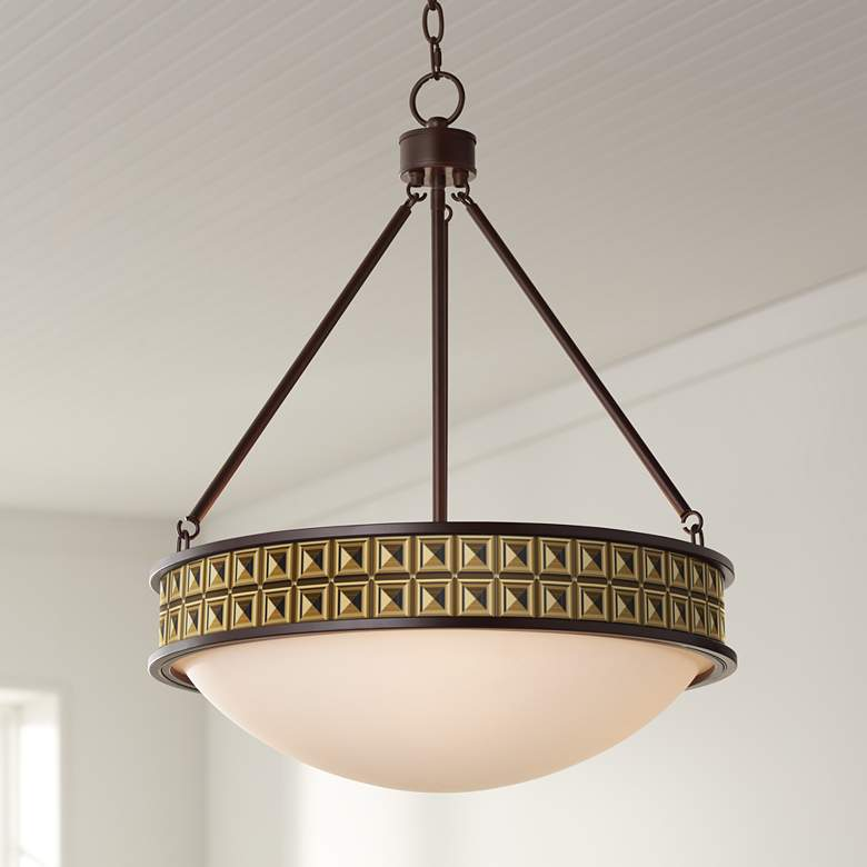 "Geometric Woodblocks 20 1/2"" Wide Bronze Pendant Light"