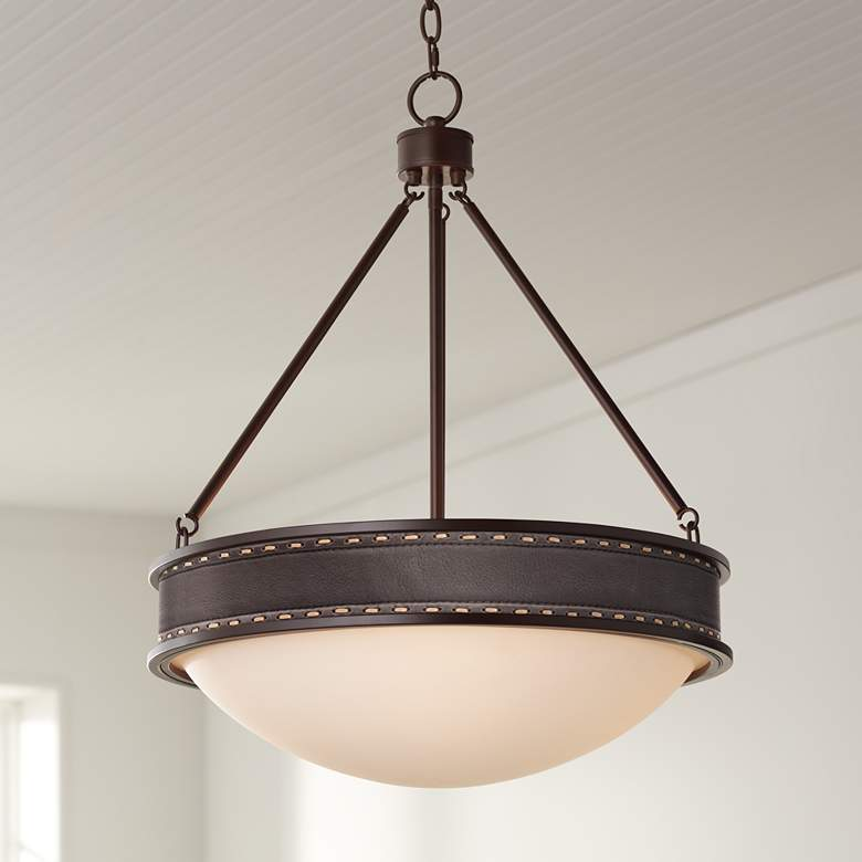 "Leather Belt Lamont Bronze 20 1/2"" Wide Pendant Light"