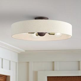 "Venlo 22"" Wide Bronze 4-Light Drum Ceiling Light"