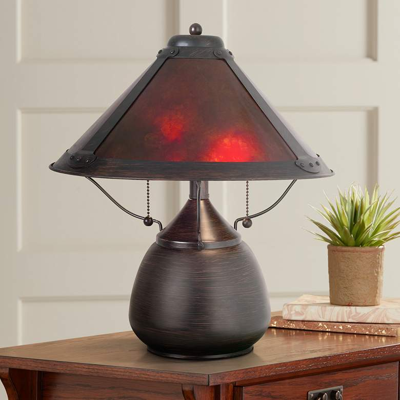 Mission Style 17 High Mica Accent Table Lamp