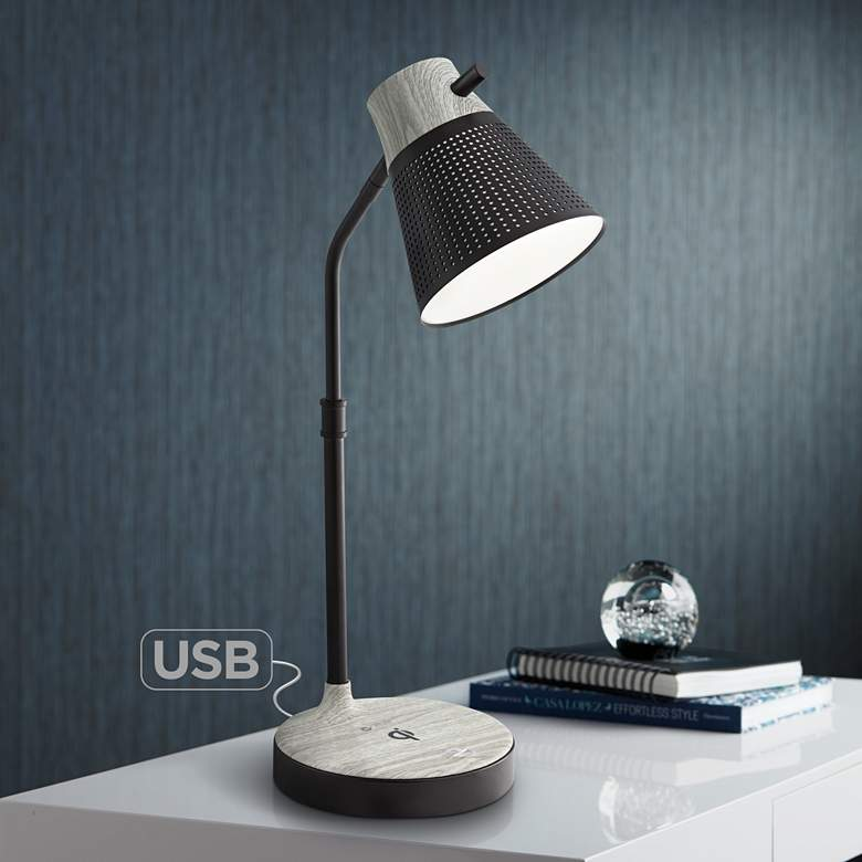 Corbin Black Gray LED Desk Lamp with USB Port and Qi Charger