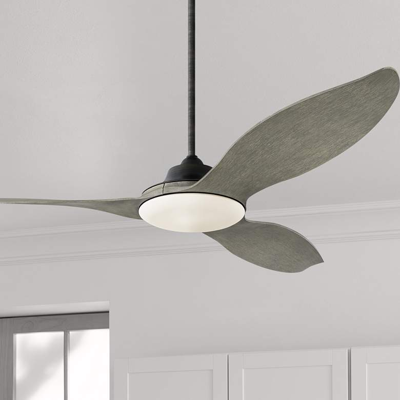 "60"" Monte Carlo Stockton Aged Pewter Damp LED Ceiling Fan"