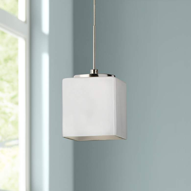 "Geo 3 1/4""W Satin Nickel LED Mini Pendant"