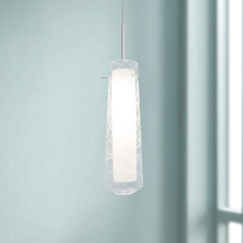 "Spun 5"" Wide Satin Nickel LED Mini Pendant with Clear Glass"