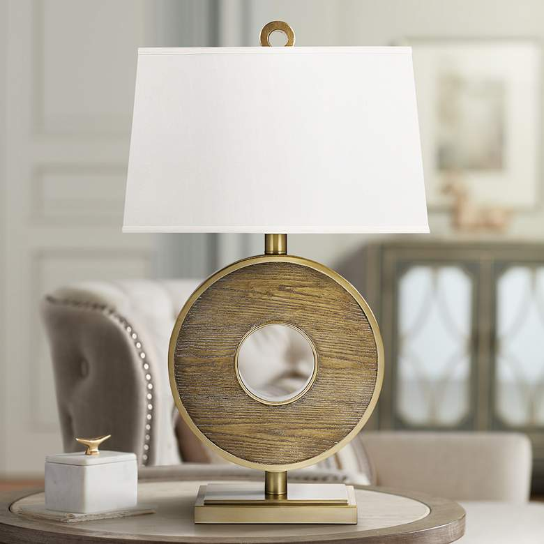 Arlo Brushed Brass Ring-Shaped LED Table Lamp