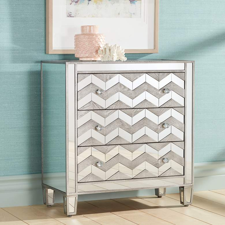 "Mirrored Chevron 32"" Wide 3-Drawer Chest by Studio 55D"