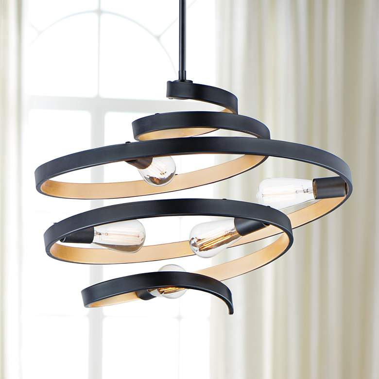 "Maxim Twister 25"" Wide Black and Gold 5-Light Pendant Light"