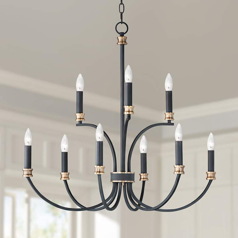 "Maxim Charlton 30"" Wide Black 9-Light Chandelier"