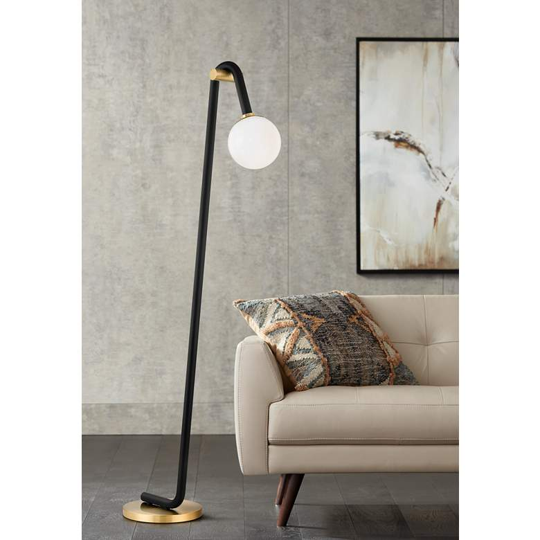 Mitzi Whit Aged Brass and Black Floor Lamp
