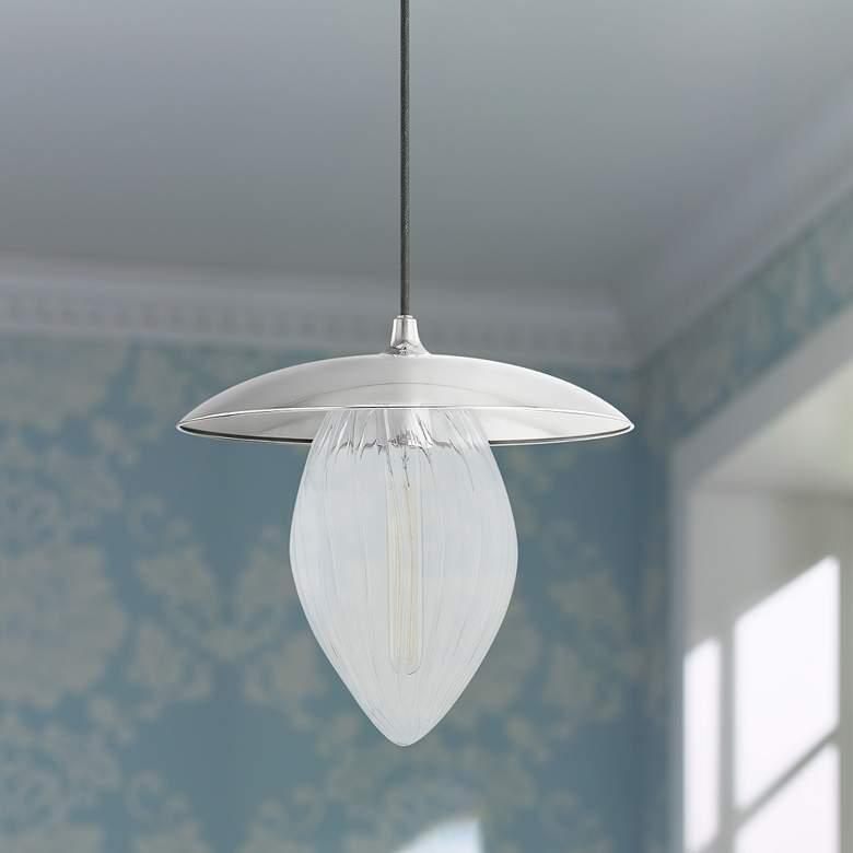 "Mitzi Lana 15"" Wide Polished Nickel Pendant Light"