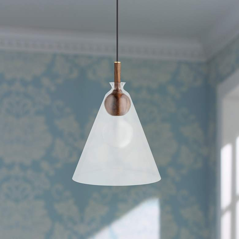 "Mitzi Dani 14"" Wide Aged Brass Bell-Shaped Pendant"