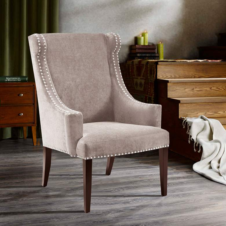 Lucy Mushroom Wingback Curved Arms Accent Chair