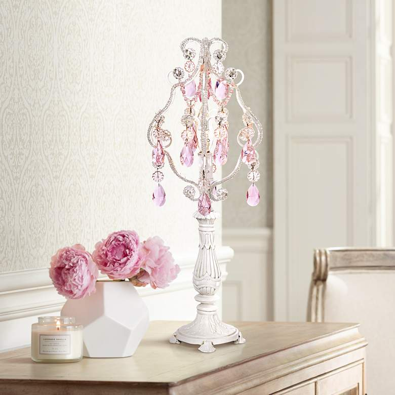 "Pink Droplet 19 1/2"" High White Mini Chandelier"