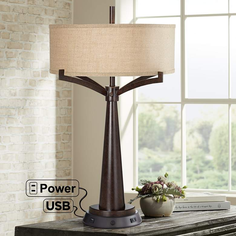 Tremont Bronze Table Lamp with Dimmable Workstation Base