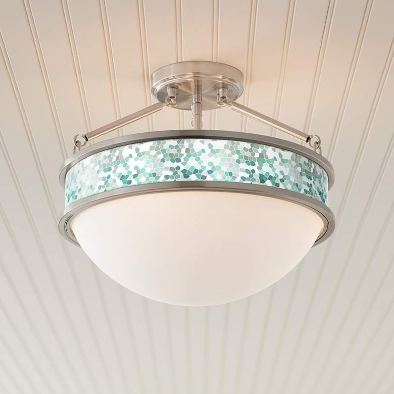 "Aqua Mosaic Banded 16"" Wide Brushed Nickel Ceiling Light"
