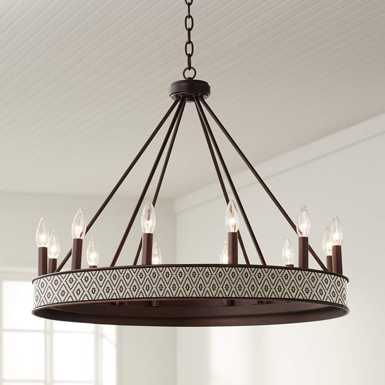 "Terra Diamonds Jessa 29 1/2"" Wide Bronze Wheel Chandelier"