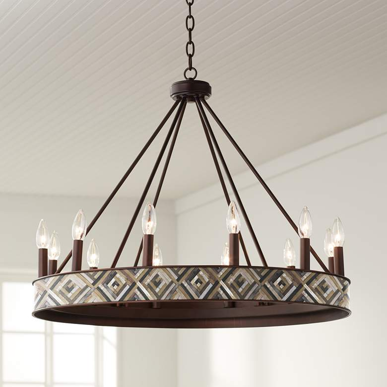 "Woodwork Diamonds Jessa 29 1/2"" Wide Bronze Wheel Chandelier"