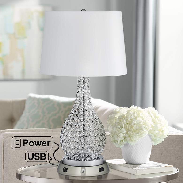 Kasey Beaded Table Lamp with Dimmable USB Workstation