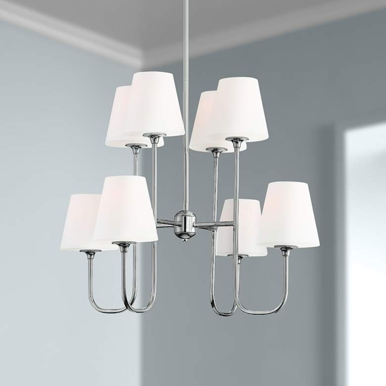 "Crystorama Keenan 28""W Polished Nickel 8-Light Chandelier"