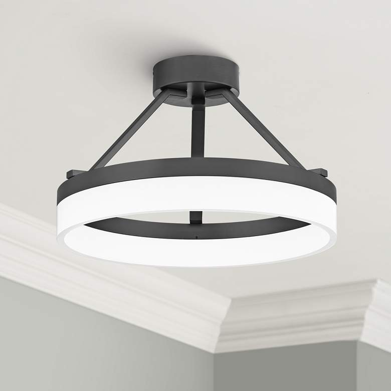 "Quoizel Cohen 15 3/4""W Oil-Rubbed Bronze LED Ceiling"