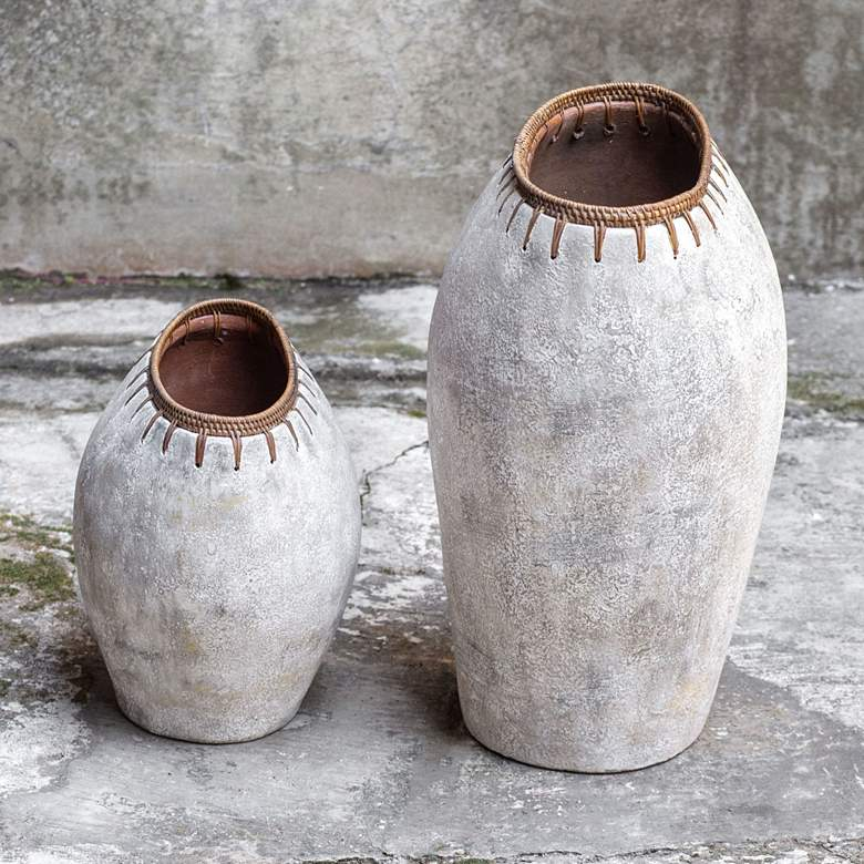 Uttermost Dua Natural Stone Decorative Vases Set of 2