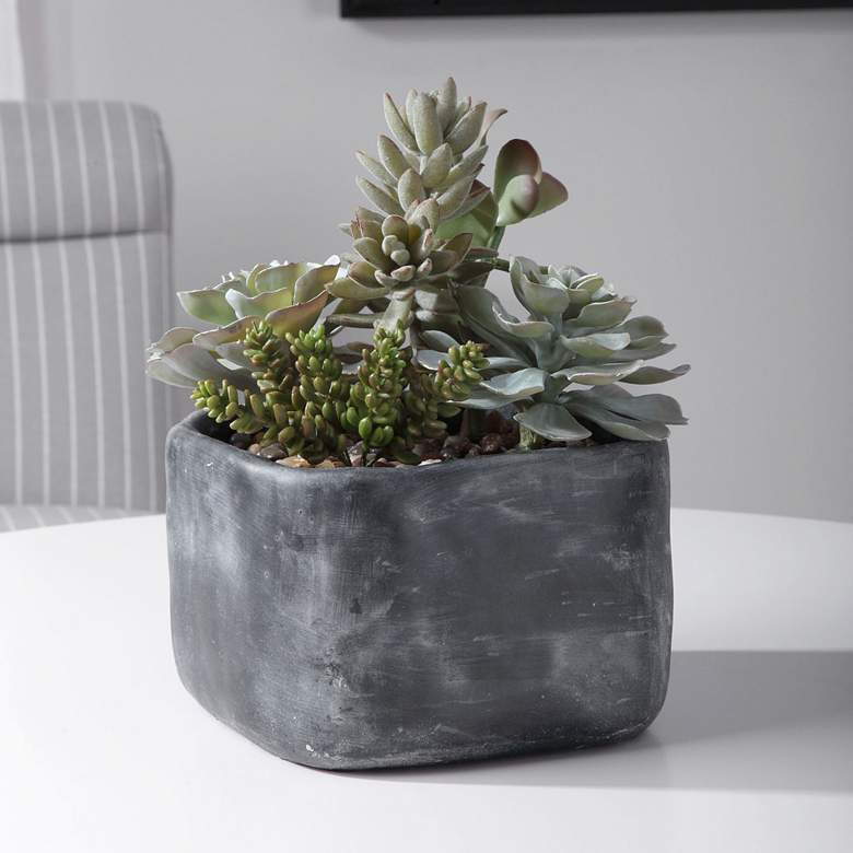 "Alverio Green Succulent 12""W Faux Plant in Concrete"