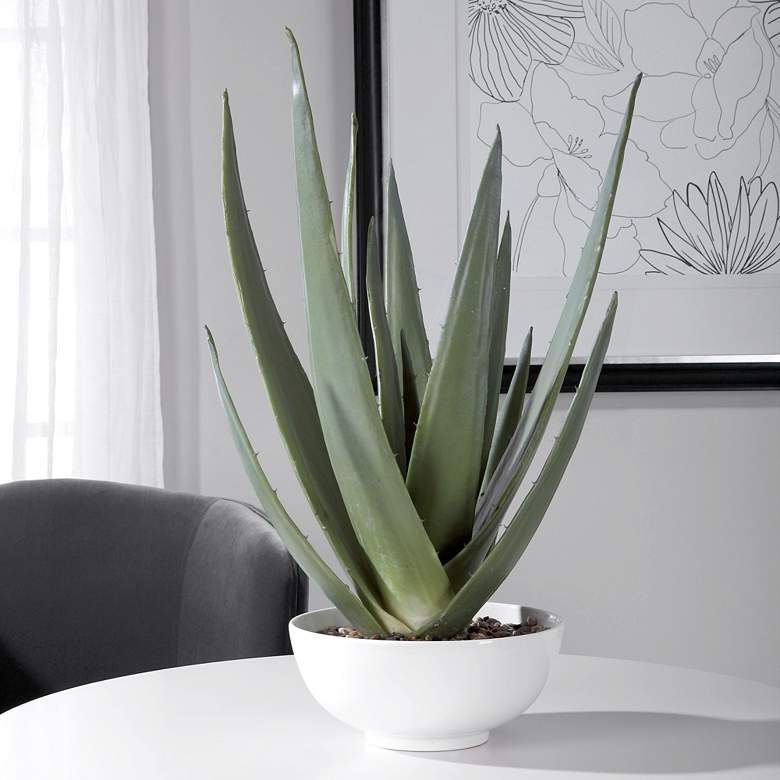 "Evarado Aloe Vera 30"" High Faux Plant in"