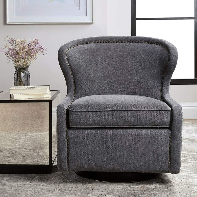 Uttermost Biscay Dark Charcoal Gray Swivel Chair