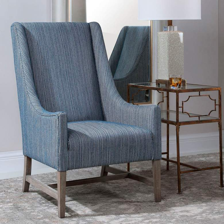 Uttermost Galiot Blue and White Accent Chair