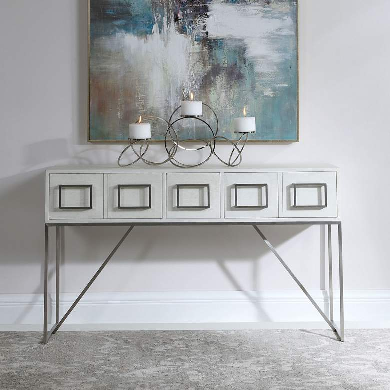 "Uttermost Abaya 54"" Wide White and Light Gray Console Table"