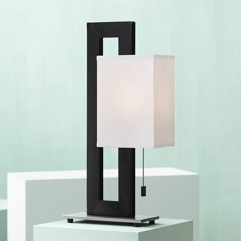 Floating Square Black Modern Table Lamp