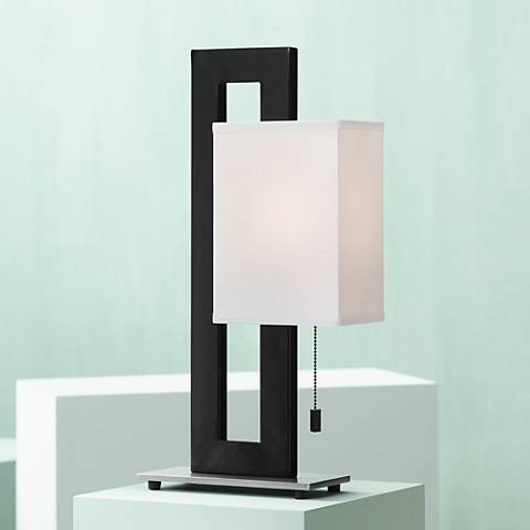 Black and Brushed Nickel Floating Square Table Lamp