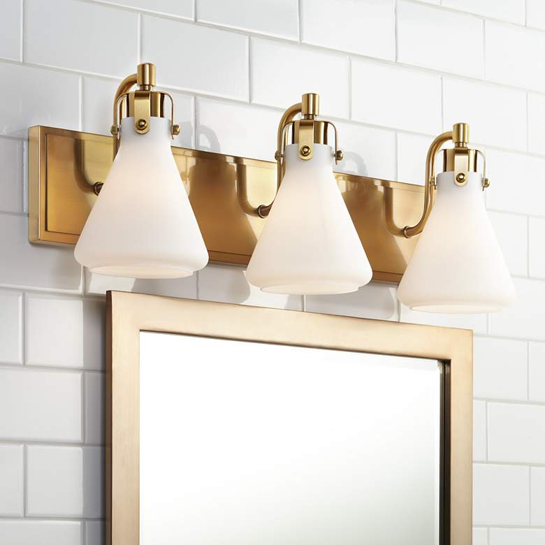"Stiffel Cindy 24"" Wide Warm Brass 3-Light Bath Light"