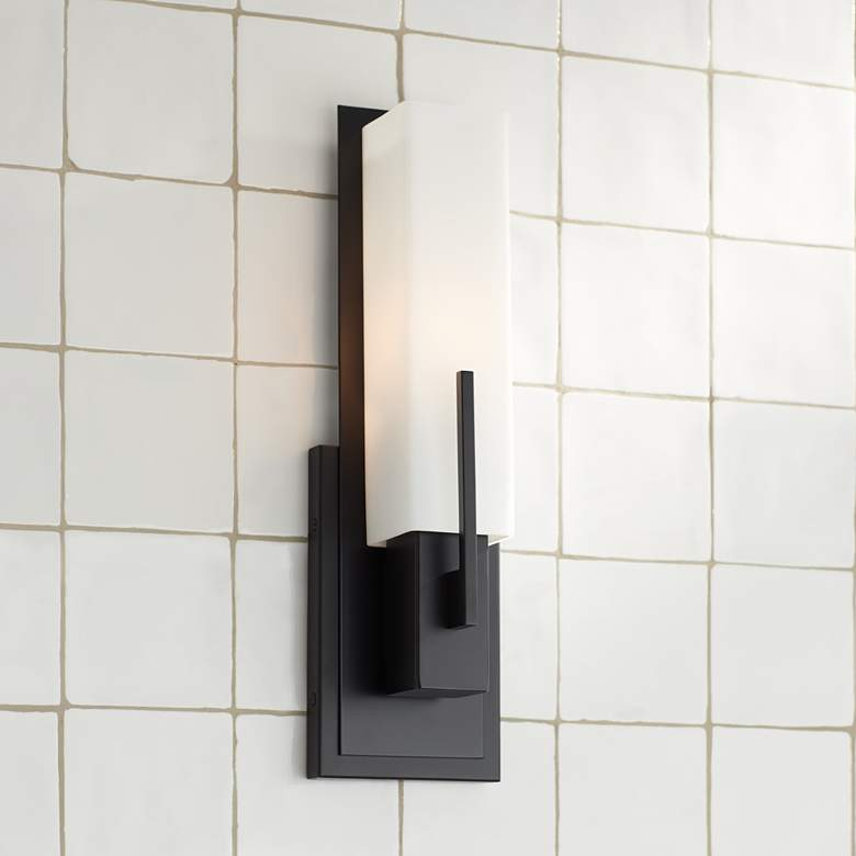 "Possini Euro Midtown 15"" High White Glass Black Wall Sconce"