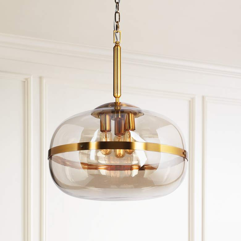 "Eurofase Nottingham 19 3/4"" Wide Amber Glass Pendant"