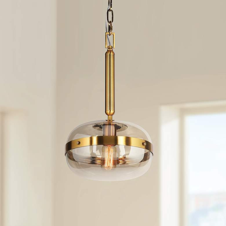 "Eurofase Nottingham 10"" Wide Amber Glass Mini Pendant"