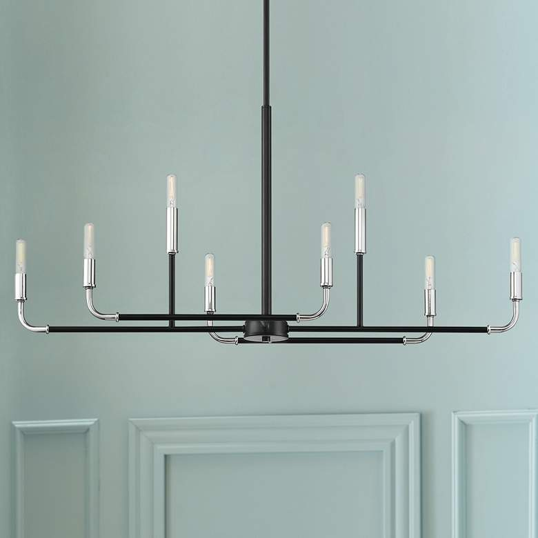 "Percy 35 3/4"" Wide Black Chrome 8-Light Island Chandelier"