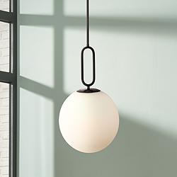 "Prospect 11 3/4""W Opal Glass Matte Black Mini Pendant Light"