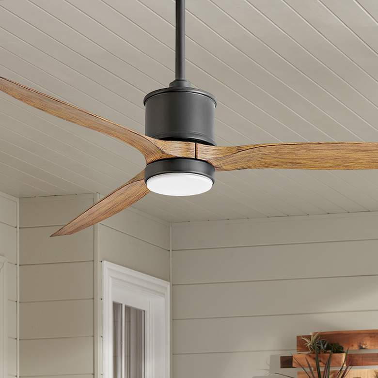 "60"" Hinkley Hover Matte Black Wet LED Ceiling Fan"