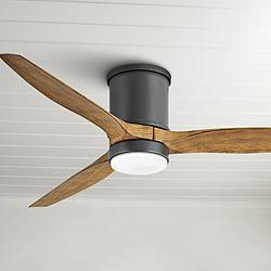 "52"" Hinkley Hover Matte Black Wet LED Hugger Ceiling Fan"