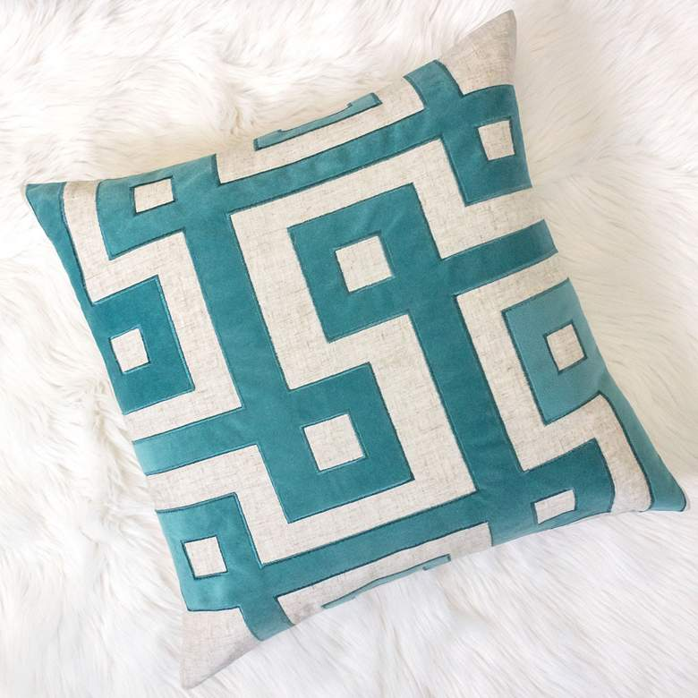 "Natural and Spa Geometric 20"" Square Decorative Pillow"