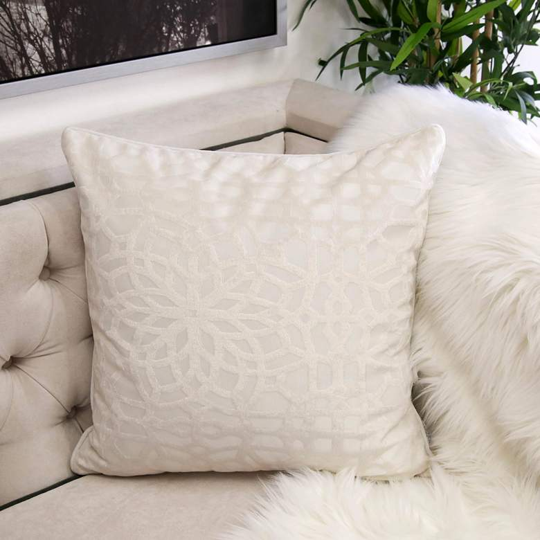 "Ivory Geometric Velvet 20"" Square Decorative Pillow"