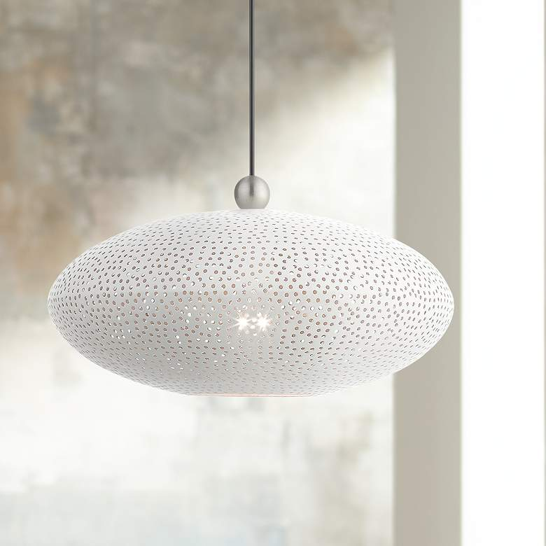 "Dublin 16"" Wide White Metal Oval Pendant Light"