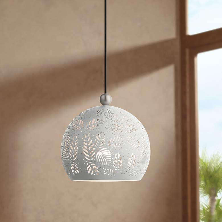 "Chantily 8"" Wide White Metal Globe Mini Pendant"